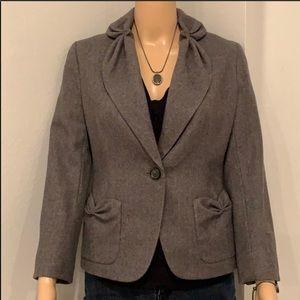 TALBOTS Wool Blend Gray Blazer Jacket Size 2